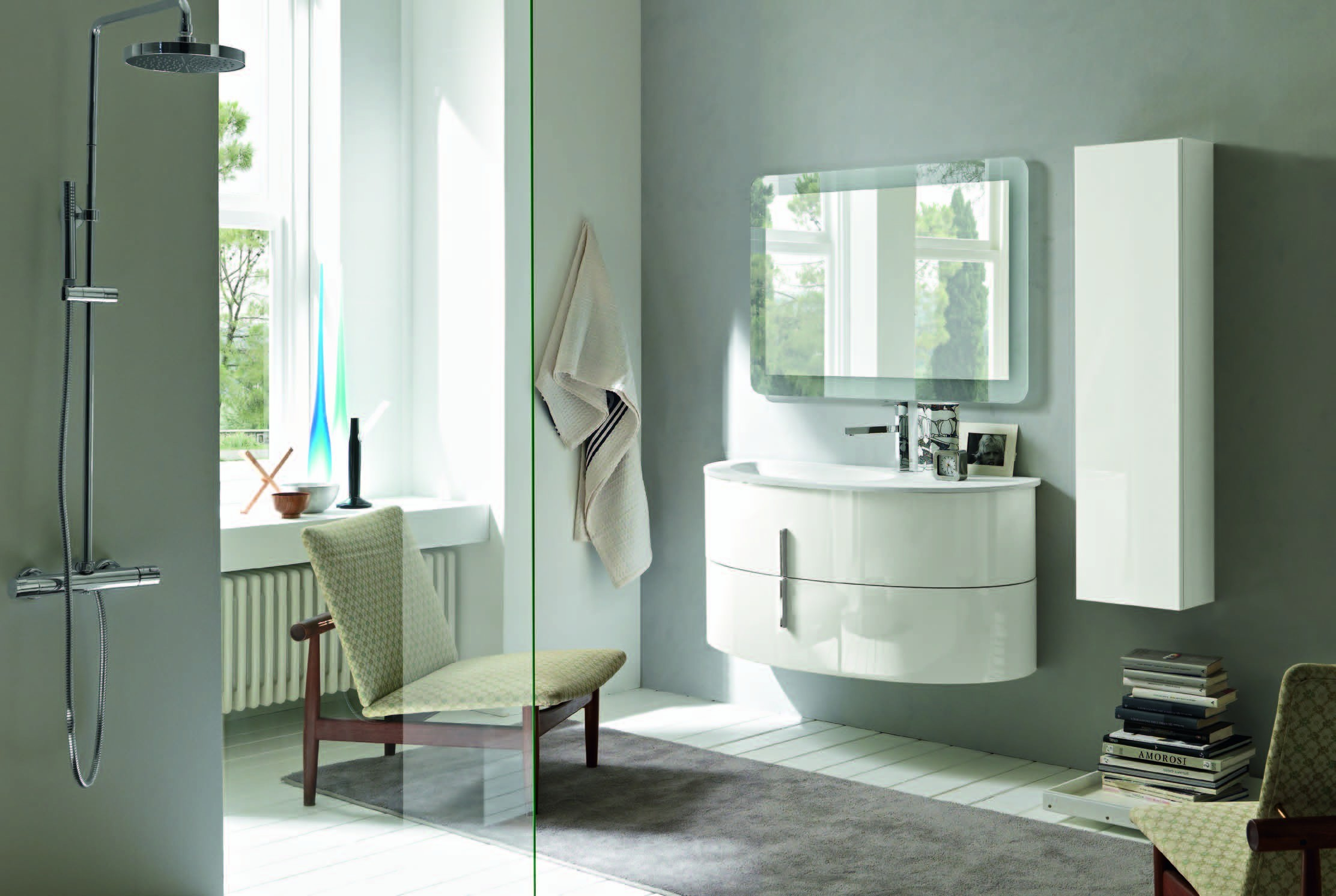 mobile bagno design ovale con base lavello e colonna sospesi finitura