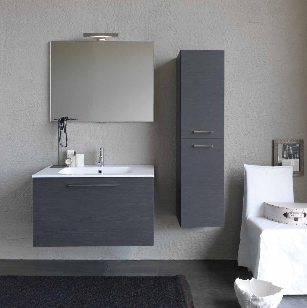 Mobile bagno moderno base lavabo e semicolonna sospesi l for Mobile lavabo