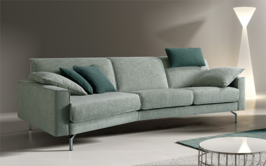 Divano design con chaise longue cuciture bordate e - Copridivano per divano in pelle con chaise longue ...