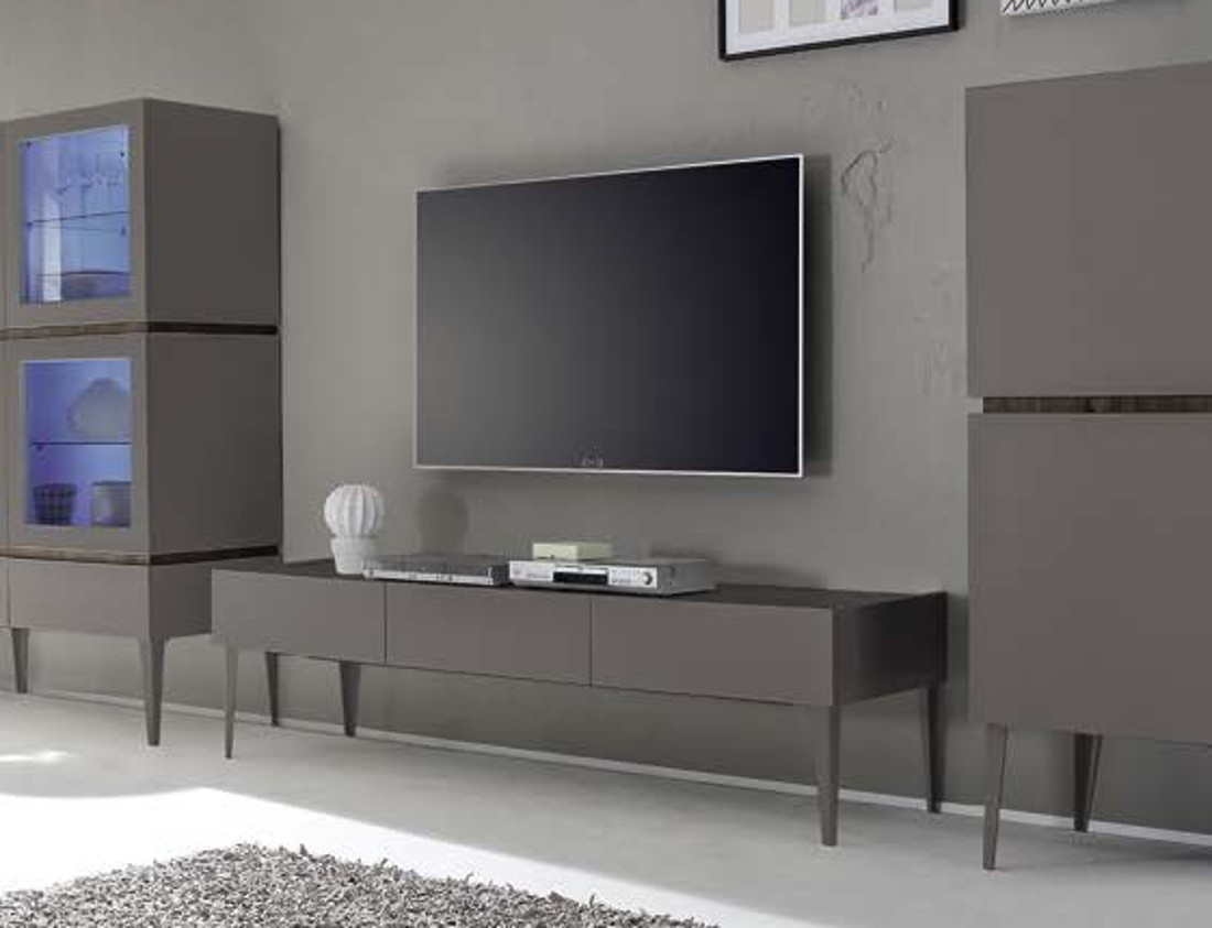Mobile porta TV Grigio opaco Block - art 2867 - Outletarreda