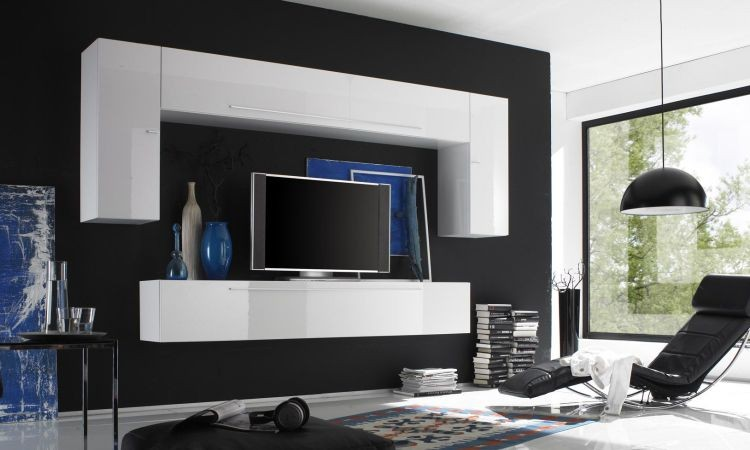 mobile soggiorno design moderno tutto sospeso bianco laccato lucido o tortora opaco art 380. Black Bedroom Furniture Sets. Home Design Ideas