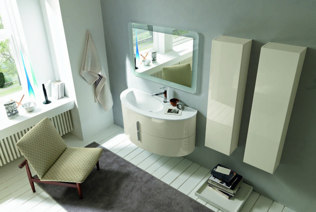 Home Mobile bagno design ovale base e colonne tutto sospeso finitura ...