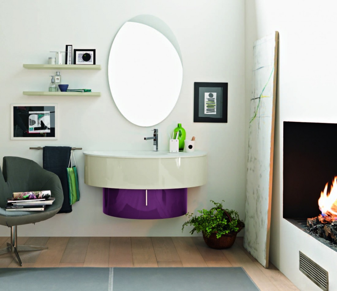 Mobile bagno design ovale lavabo sospeso finitura laccato for Design bagno