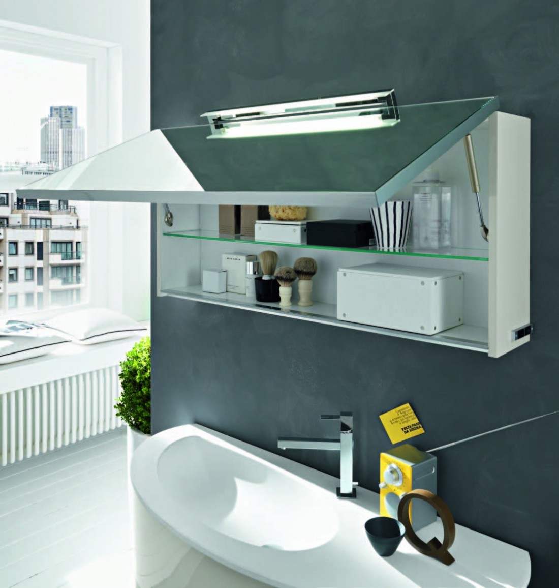 Mobile bagno design ovale base lavabo sospesa specchio for Mobiletto design