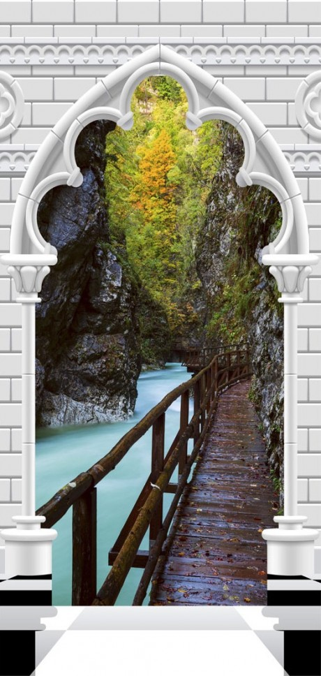 Fotomurale per porta - Photo wallpaper - Arch and wooden path I
