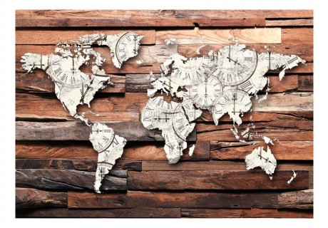 Fotomurale - Map On Wood
