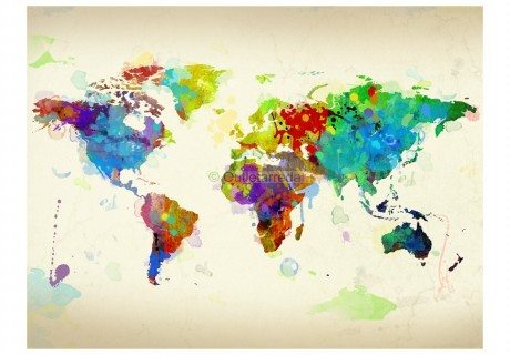 Fotomurale - Paint splashes map of the World