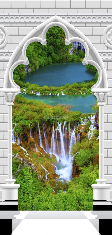 Fotomurale per porta - Photo wallpaper - Gothic arch and waterfall I