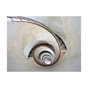 Fotomurale - White spiral stairs