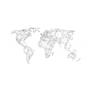 Fotomurale XXL - Map of the World - white solids