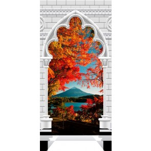 Fotomurale per porta - Photo wallpaper - Gothic Arch and Mount Fuji I