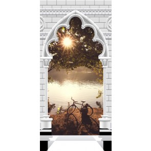Fotomurale per porta - Photo wallpaper - Gothic arch and lake I