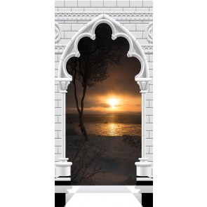 Fotomurale per porta - Photo wallpaper - Gothic arch and sunset I