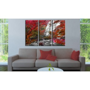 Quadro - Beautiful Waterfall: Autumnal Forest
