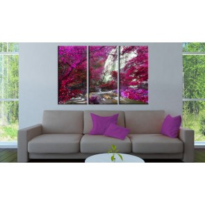 Quadro - Beautiful Waterfall: Pink Forest