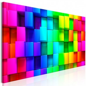 Quadro - Colourful Cubes (5 Parts) Narrow