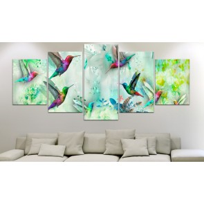 Quadro - Colourful Hummingbirds (5 Parts) Wide Green