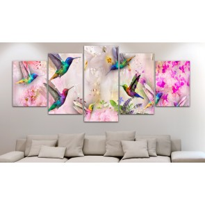 Quadro - Colourful Hummingbirds (5 Parts) Wide Pink