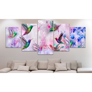 Quadro - Colourful Hummingbirds (5 Parts) Wide Violet