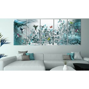 Quadro - Hummingbirds Dance (5 Parts) Turquoise Narrow