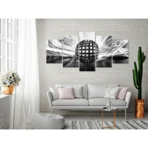 Quadro - Metal Ball (5 Parts) Wide Black and White