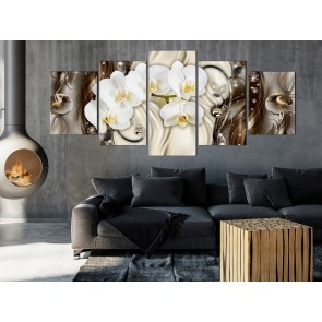 Quadro - Orchid Waterfall (5 Parts) Wide Brown