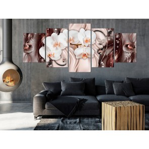 Quadro - Orchid Waterfall (5 Parts) Wide Pink