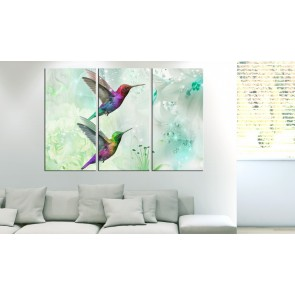 Quadro - Pair of Hummingbirds (3 Parts) Green