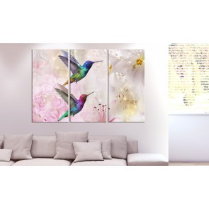 Quadro - Pair of Hummingbirds (3 Parts) Pink