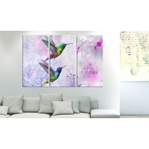 Quadro - Pair of Hummingbirds (3 Parts) Violet