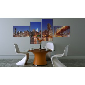 Quadro - Panorama notturno: New York