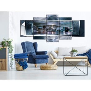 Quadro - Power of Manhattan (5 Parts) Wide Blue
