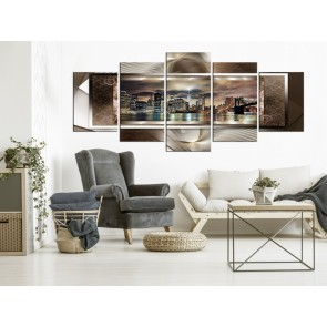 Quadro - Power of Manhattan (5 Parts) Wide Brown
