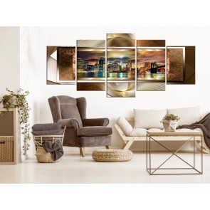 Quadro - Power of Manhattan (5 Parts) Wide Golden