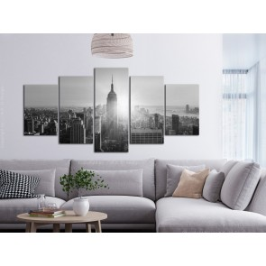 Quadro - Sun over Manhattan (5 Parts) Wide Black and White