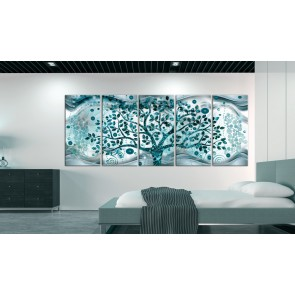 Quadro - Tree and Waves (5 Parts) Blue