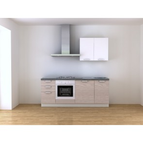 Cucina moderna componibile L 210 cm con cappa inox