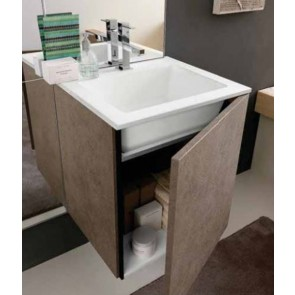 Mobile bagno design moderno con base lavello sospesa L 50 cm finitura stone middle - art 309