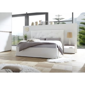 Letto king sie ecopelle bianco